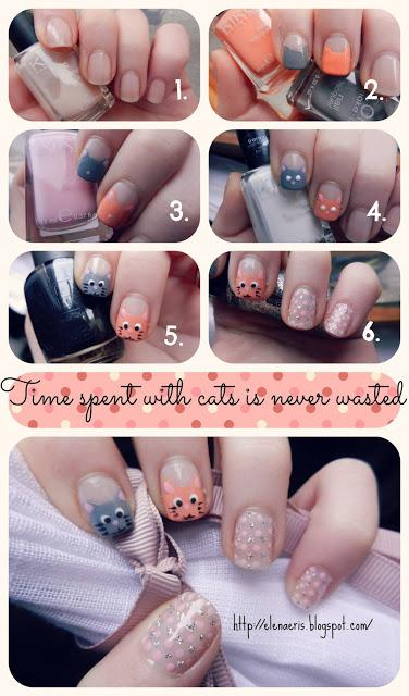 Nail Art || Time spent with cats is never wasted