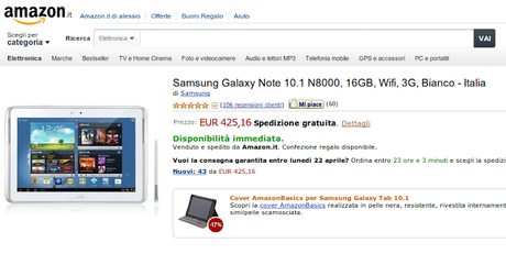 Samsung Galaxy Note 10.1 a 425 euro su Amazon Italia