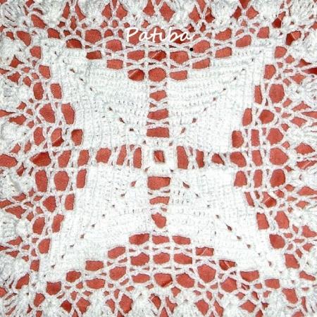 Uncinetto Copriletto Di Cotone Bianco A Piastrelle