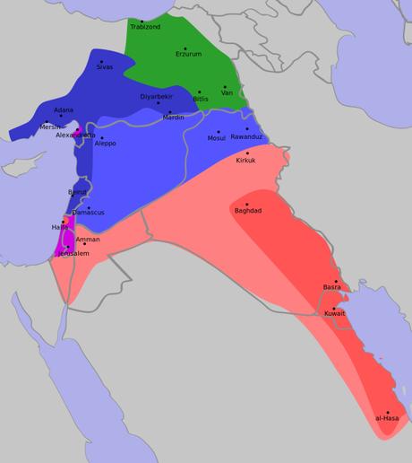 Mappa dell'accordo Sykes-Picot