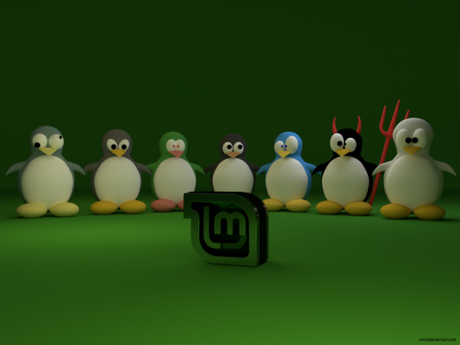 penguins_and_linux_logo_linux_mint_green