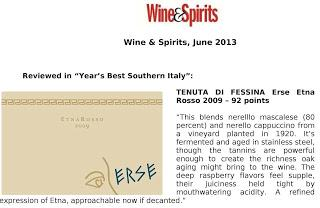 "Tenuta di Fessina, reviewed in ""Year's Best Southern Italy"". By Wine & Spirits, June 2013"