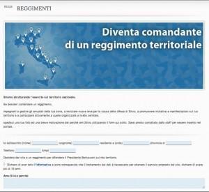 Il modulo per diventare comandante di reggimento dell'esercito della libertà a sostegno di Silvio Berlusconi