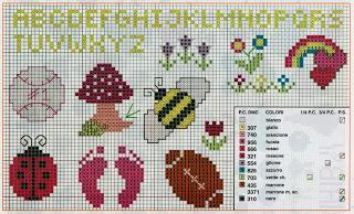 Schema punto croce piccoli ricami per bambini paperblog for Angioletti punto croce per bambini