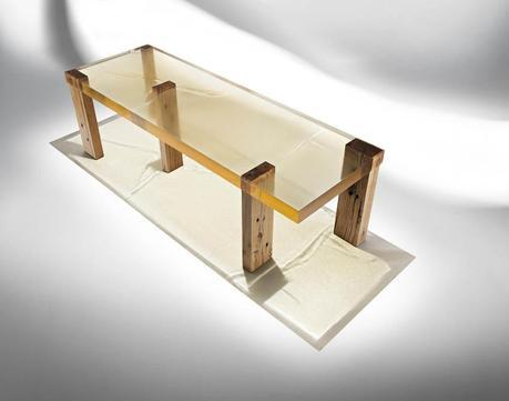 Ammann Gallery_Wood fossil table by Nucleo for Ammann Gallery.