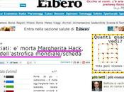 "Libero annuncia morte Margherita Hack: ""astrofica"" mondiale #gaffe"