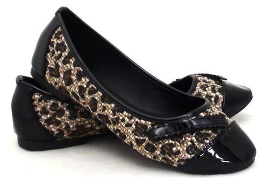 Scarpe donna ballerine leopardate ecopelle e vernice nero