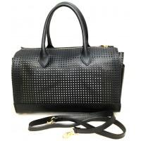 Borsa bauletto da donna forata nera bag made in italy