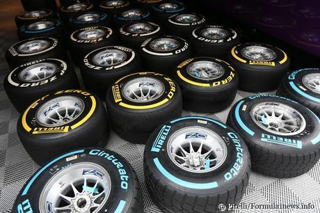 Soft and medium dry tyres as well as wet tyres being laid out