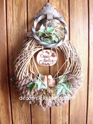 Ghirlanda fuori porta in vimini corda di cocco e cernit - Ghirlanda porta ...