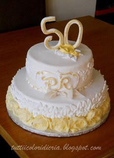 Cake per 50 anni di matrimonio paperblog for Decorazioni 50 anni di matrimonio