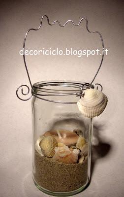 Lanterna con barattolo di vetro riciclato e conchiglie for Decorazione lanterne natale