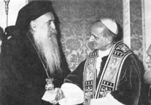 Paolo VI con patriarca ortodosso Antenagora www.wikipedia.org  300x209 I papi e la guerra