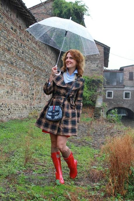 IndianSavage Margaret Dallospedale Red Rainboots Trench Rainy day 4