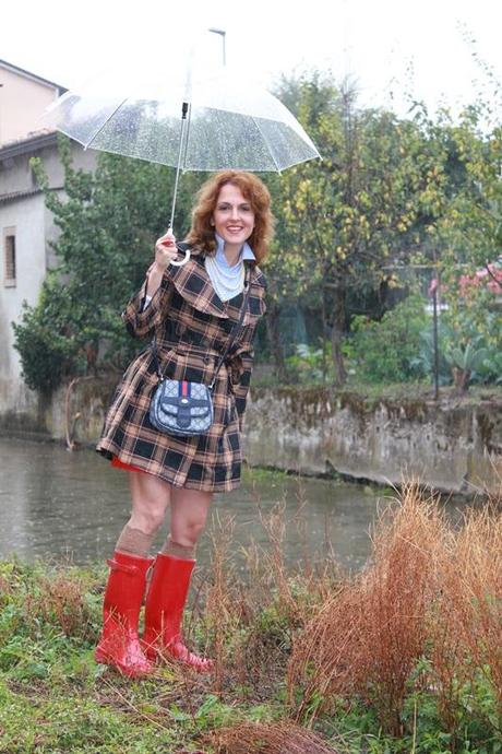 IndianSavage Margaret Dallospedale Red Rainboots Trench Rainy day 5