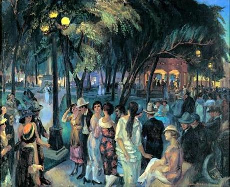 John Sloan - The Plaza Evening Santa Fe Music in the Plaza 1920 -