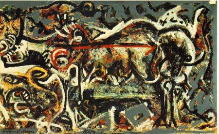 Jackson Pollock - 1943 - The she-wolf - Oil, gouache, and plaster on canvas -  106x 170 cm. - The Museum of Modern Art, New York