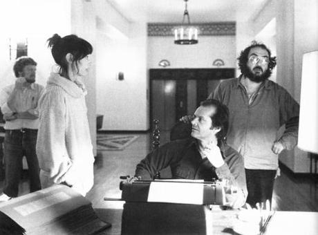 Stanley Kubrick con gli attori Jack Nicholson e Shelley Duvall sul set di Shining