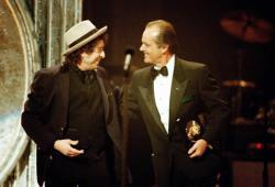 Bob Dylan 1991 - receives the Lifetime Achievement Grammy award - with Jack NIcholson