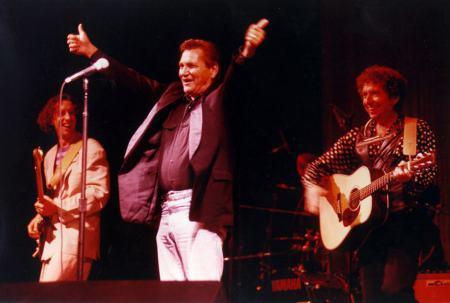 Bob Dylan with John Jackson and Billy Lee Riley at the Joseph Taylor Robinson Memorial Auditorium Little Rock, Arkansas September 8, 1992
