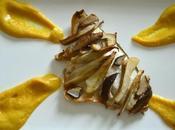 Filetti branzino funghi porcini purea ceci allo zafferano