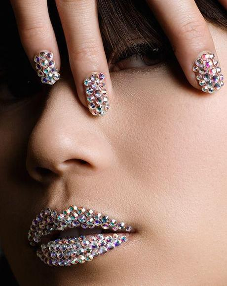 #gram #Swarovski #nails and #lips. Great concept, so impractical