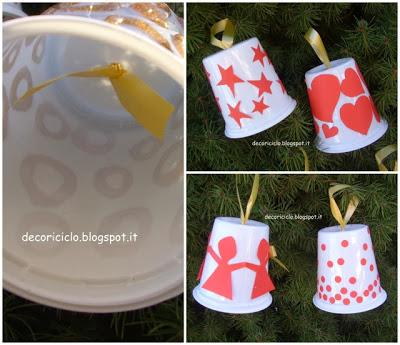 Decorazioni Natalizie Cartoncino.Decorazioni Per L Albero Di Natale Con Vasetti Dello Yogurt Nastri