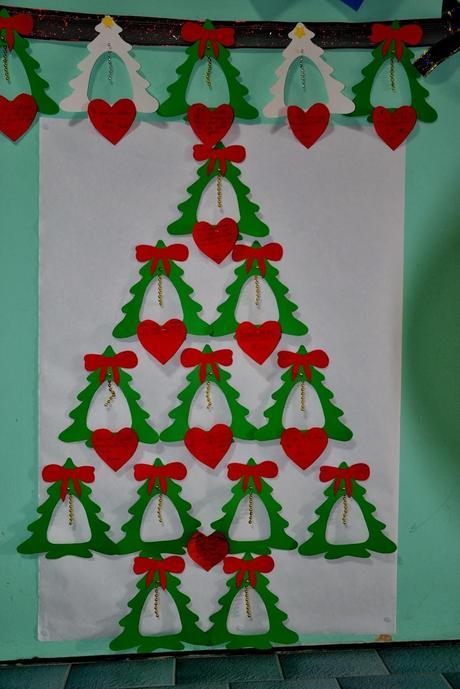 Il facile albero di natale da punteggiare paperblog for Addobbare la porta dell aula