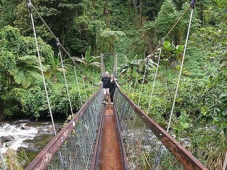 Lavena Coastal Walk - sul ponte di corda - Taveuni, Fiji