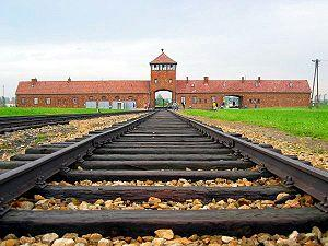 Auschwitz II - Birkenau - Entrance gate and ma...