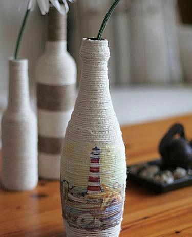 Vaso da arredo da bottiglie di vetro paperblog for Decoupage su vaso di vetro