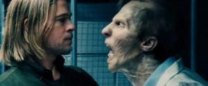 Brad Pitt invidioso di uno zombie in World War Z