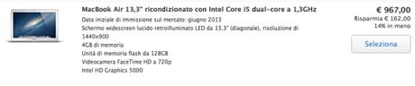 Screenshot 2014 01 21 15.22.08 600x126 MacBook Air 13,3 ricondizionato con Intel Core i5 dual core a 1,3GHz a soli 967 Euro su Apple Store !!