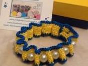 Braccialetto uncinetto perle....nella versione giallo/blu