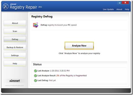 Simnet Registry Defrag thumb Ottimizzare, velocizzare e deframmentare il registro di sistema con Simnet Registry Repair