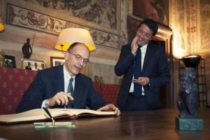 Firenze, Matteo Renzi ed Enrico Letta a Palazzo Vecchio
