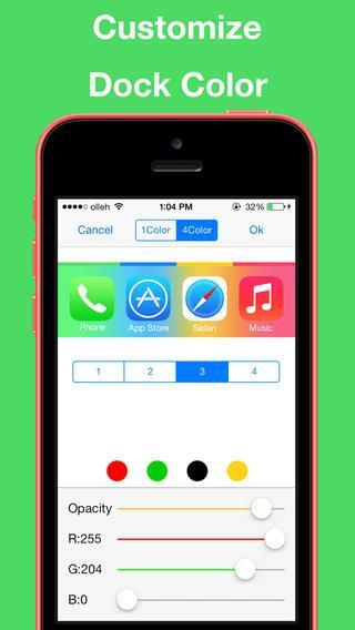 ColorBar for iOS 7 - Customize the color of the dock and status bar on top of the wallpaper