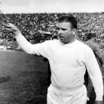 14th, May, 1965, Ferenc Puskas of Real Madrid, pictured throwing flowers to fans prior to the AEK Athens v Real Madrid game in Athens, The match finished in a 3-3 draw