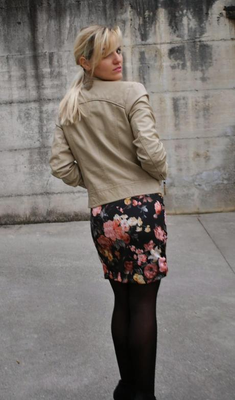 A FLORAL DRESS AND A BIKER JACKET