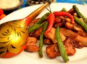 Maiale piccante saltato funghi fagiolini/Stir Fried Pork with Mushrooms Green Peas