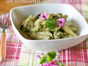 Penne crema zucchine all'acetosella, tonno olive with wood sorrel courgette cream, tuna olives