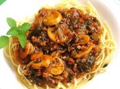 Ragù funghi, prosciutto spinaci