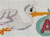 Schemi punto croce: Cicogna monogramma croce