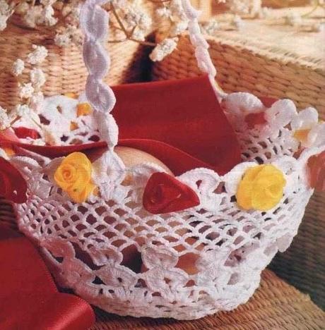 Lavori con l'uncinetto: Cestino inamidato con fiorellini