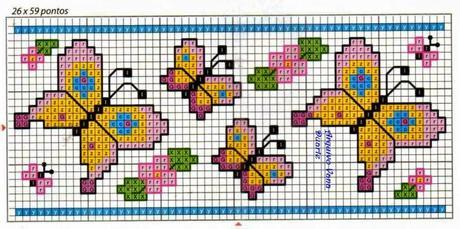 Cornici e bordi a punto croce per lenzuolini bavette for Farfalline punto croce