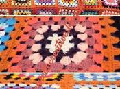Coperta Copriletto patchwork realizzata mano uncinetto lana.