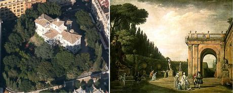 Ludovisi Gardens by Claude-Joseph Vernet, 1749 e google maps