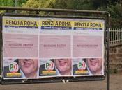 Tutte affissioni abusive Matteo Renzi Roma. Beppe Grillo supera, caro presidente, ringrazia criminali Roma gestiscono parito