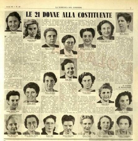 Le donne dell'Assemblea Costituente in un giornale d'epoca