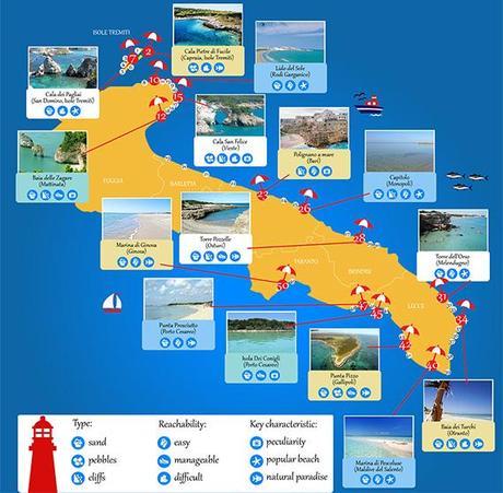 Cartina Puglia Costa Adriatica.Non Solo Trulli Taranta E Orecchiette Le 50 Spiagge Piu Belle Della Puglia Paperblog